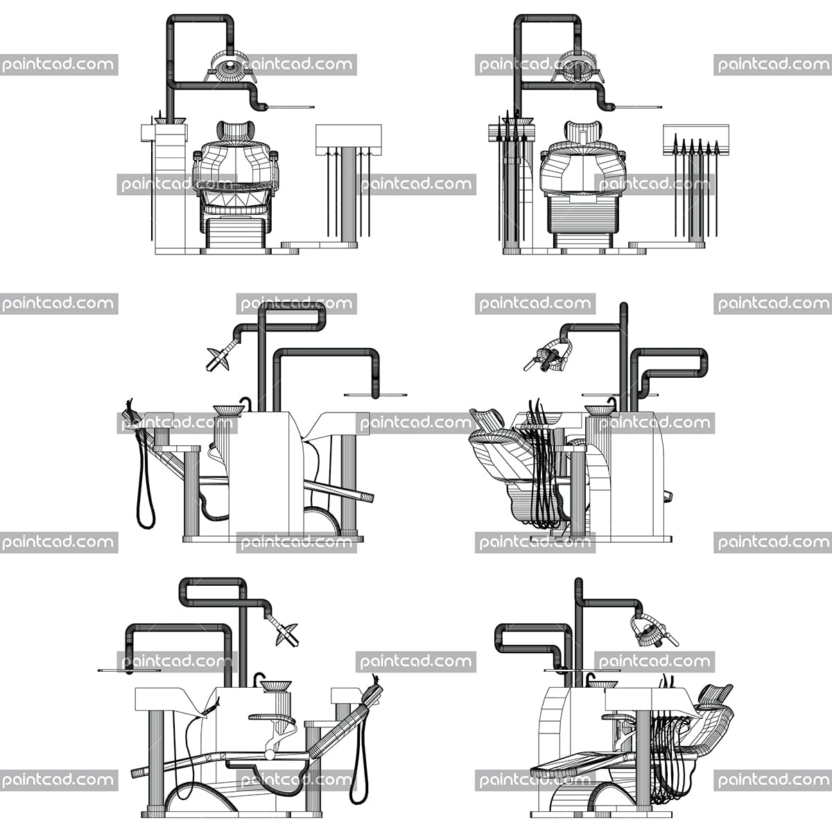 Vector drawing of polygonal dentist chair. Front, rear, side and axonometric view. Three-dimensional graphic design. Isolated objects on white background. Diagram suitable for illustrative purposes and advertising.