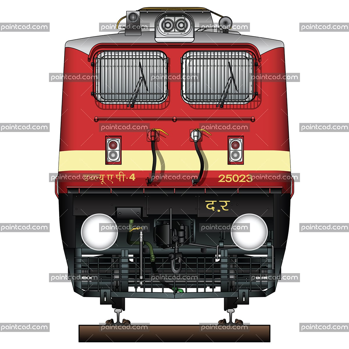 Passenger electric locomotive class WAP-4 by Indian Railways - vector illustration