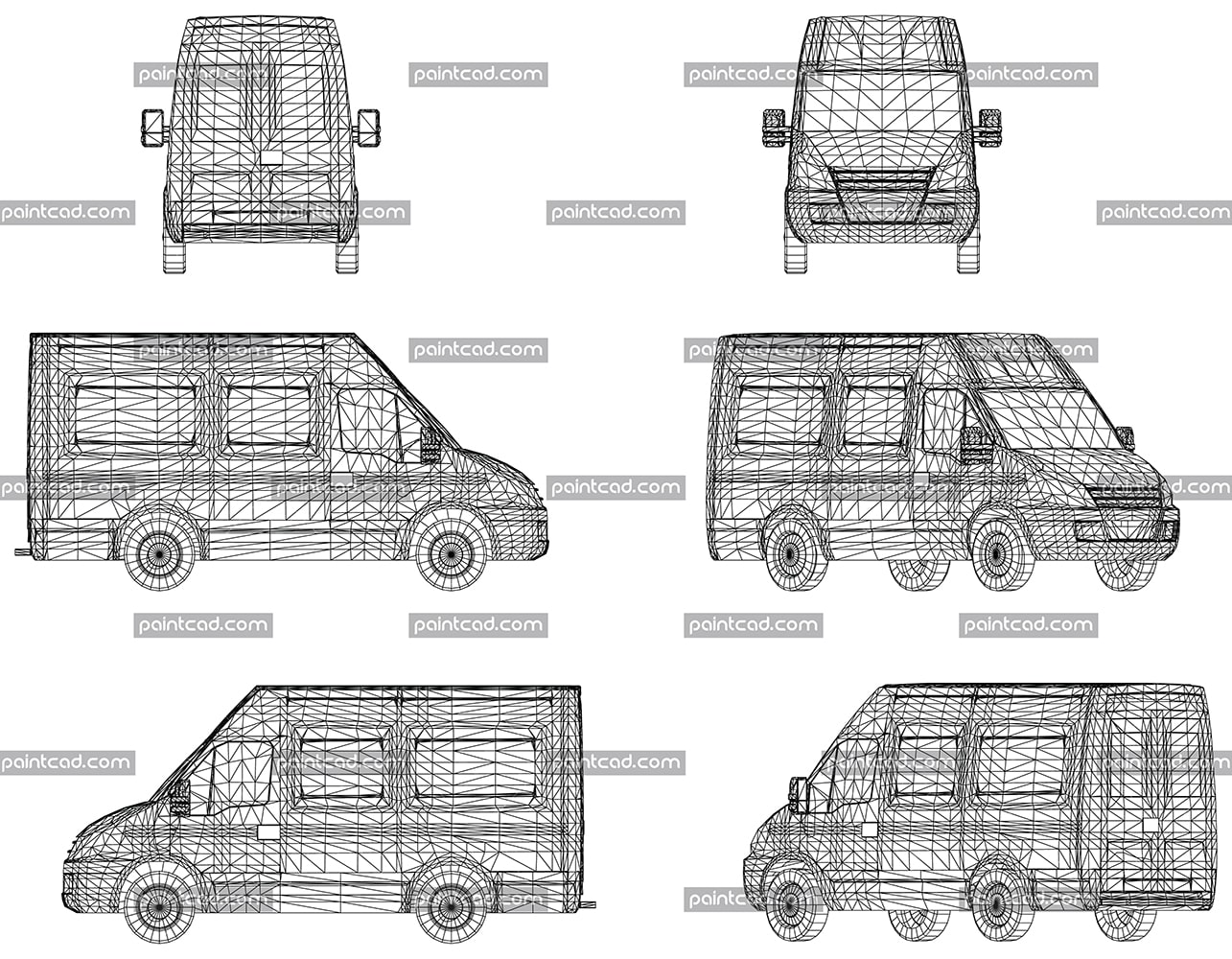 Sketch with wireframe design on three-dimensional van - vector illustration