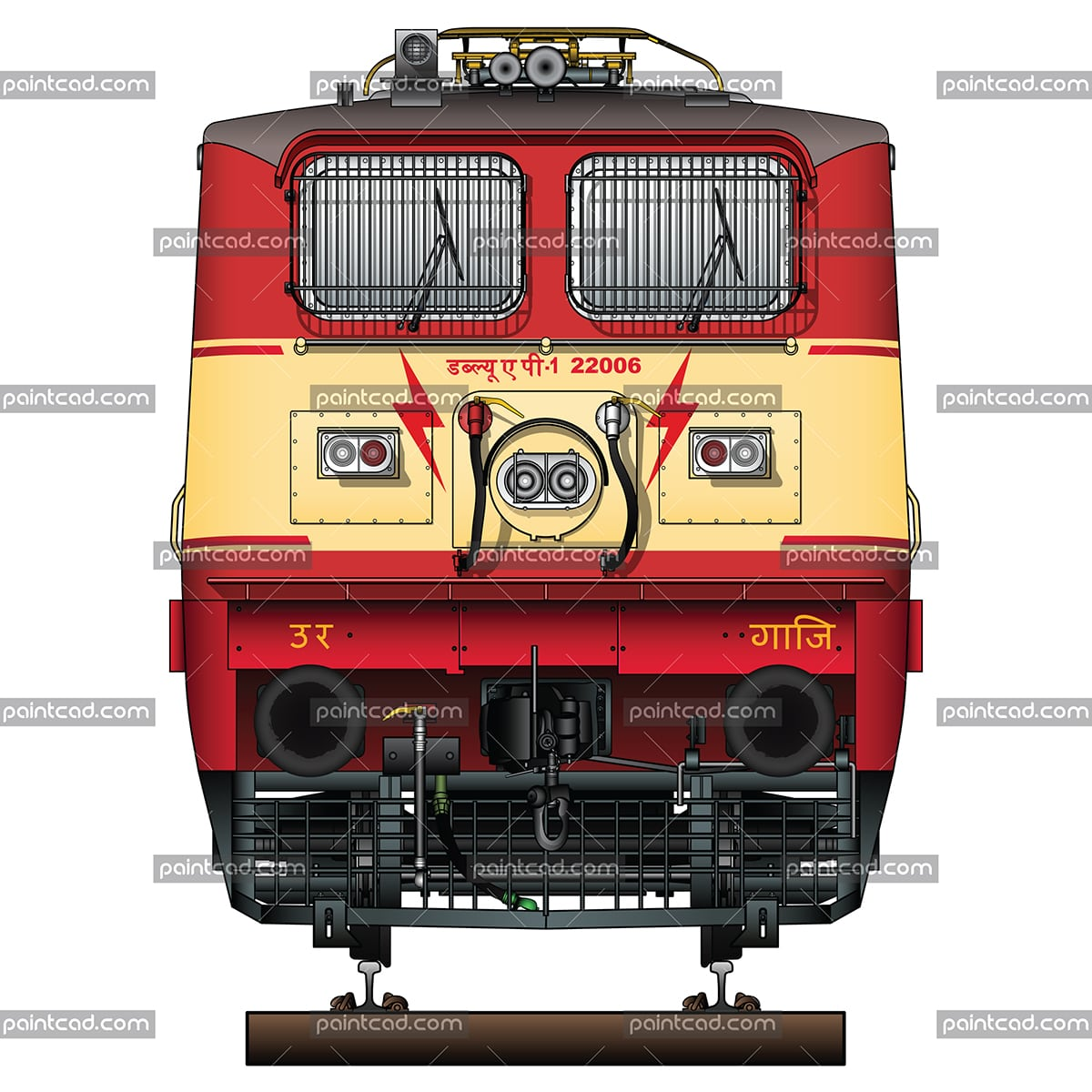 Indian passenger locomotive class WAP-1 in red-yellow livery - vector illustration