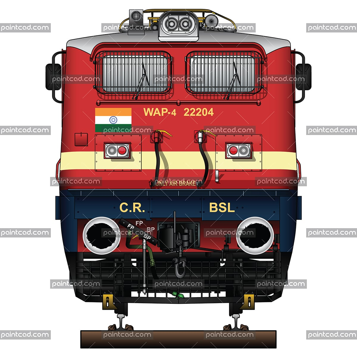 "IMPORTANT: EDITORIAL USE ONLY! Vector illustration with front view of passenger electric locomotive WAP-4 used in Indian Railways. The engine is equipped with pantographs Two Stone India (Calcutta) AM-12, frame frontal plow, AAR tightlock couplers and chain link couplers. Abbreviation WAP-4 mean: W - Broad Gauge, A – AC electric traction, P – Passenger and ""4"" - the serial number of the modification of locomotive. Detailed color drawing with inscriptions in English for railway company, engine type, serial number and Indian flag. Isolated object over white background."