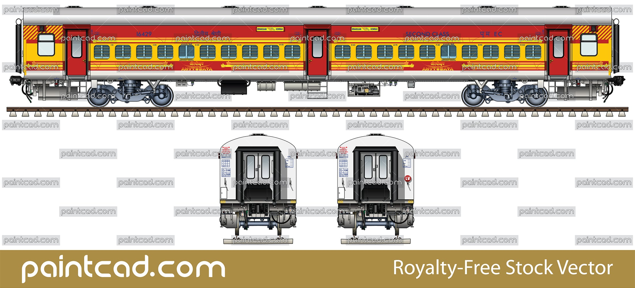 IMPORTANT: EDITORIAL USE ONLY! Vector illustration with side view of Indian passenger car LHB (Linke Hofmann Busch) type in livery of Antyodaya express with route Ernakulam-Howrah. Isolated object over white background.