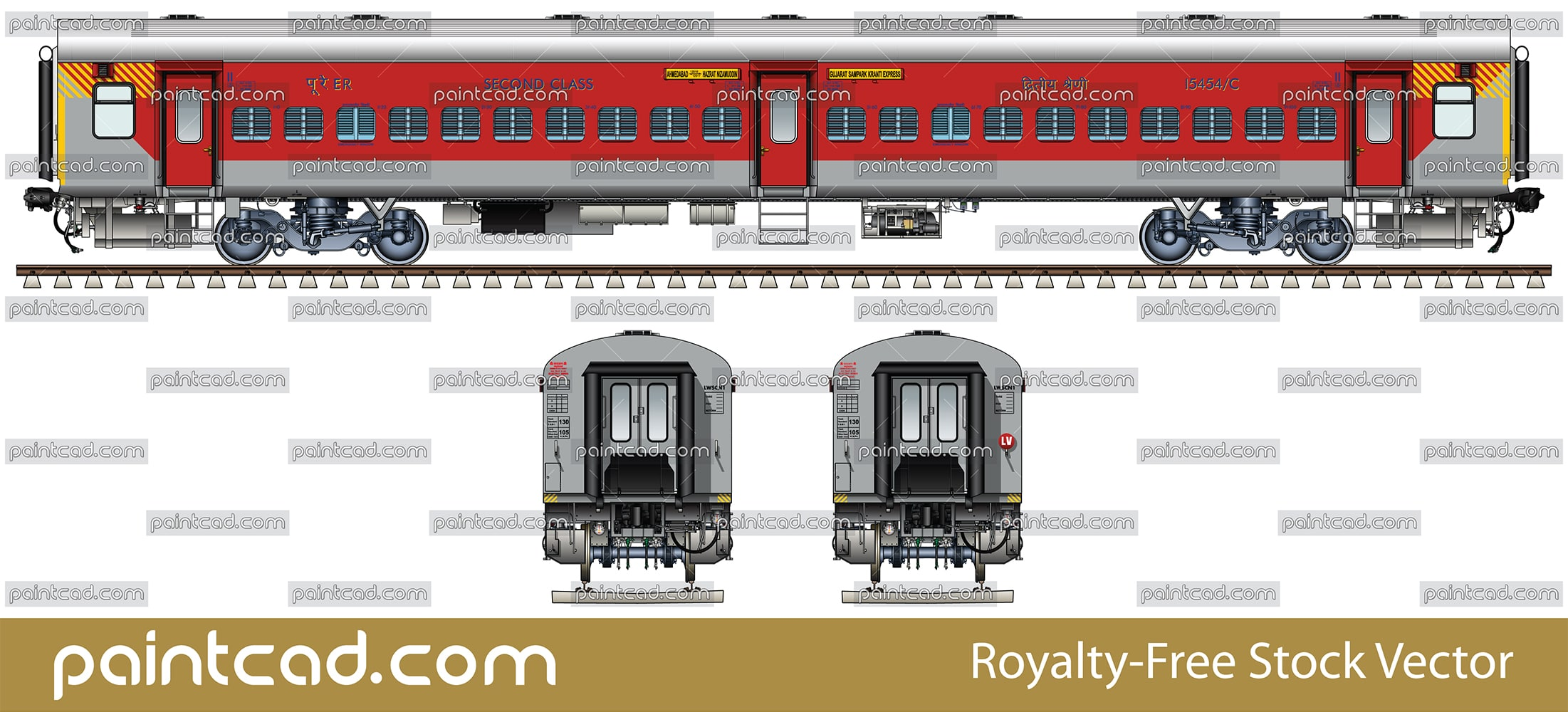IMPORTANT: EDITORIAL USE ONLY! Vector illustration with side view of Indian General seat passenger car LHB (Linke Hofmann Busch) in livery of express train from Ahmedabad to Nizamuddin. 
