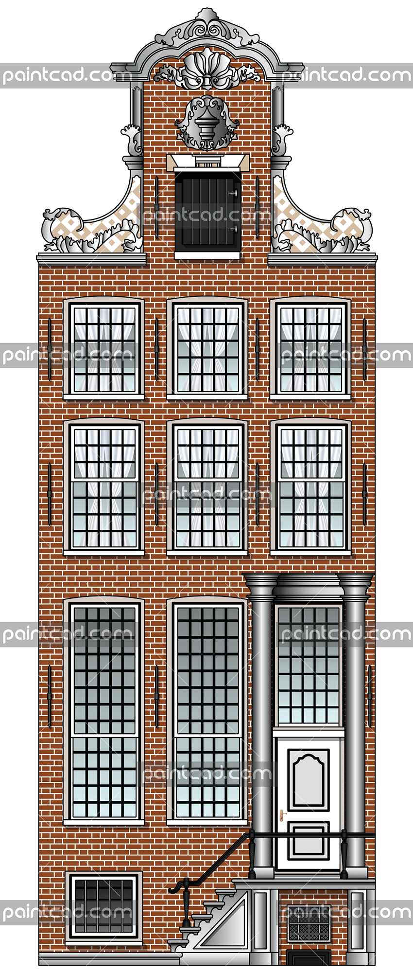 Facade of canal house from the Dutch capital Amsterdam - vector illustration