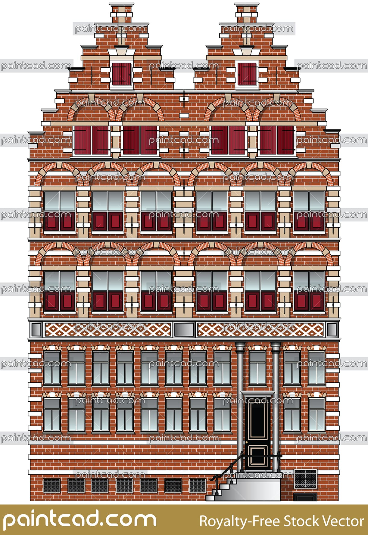 Facade of two Amsterdam houses with red window shutters - vector illustration