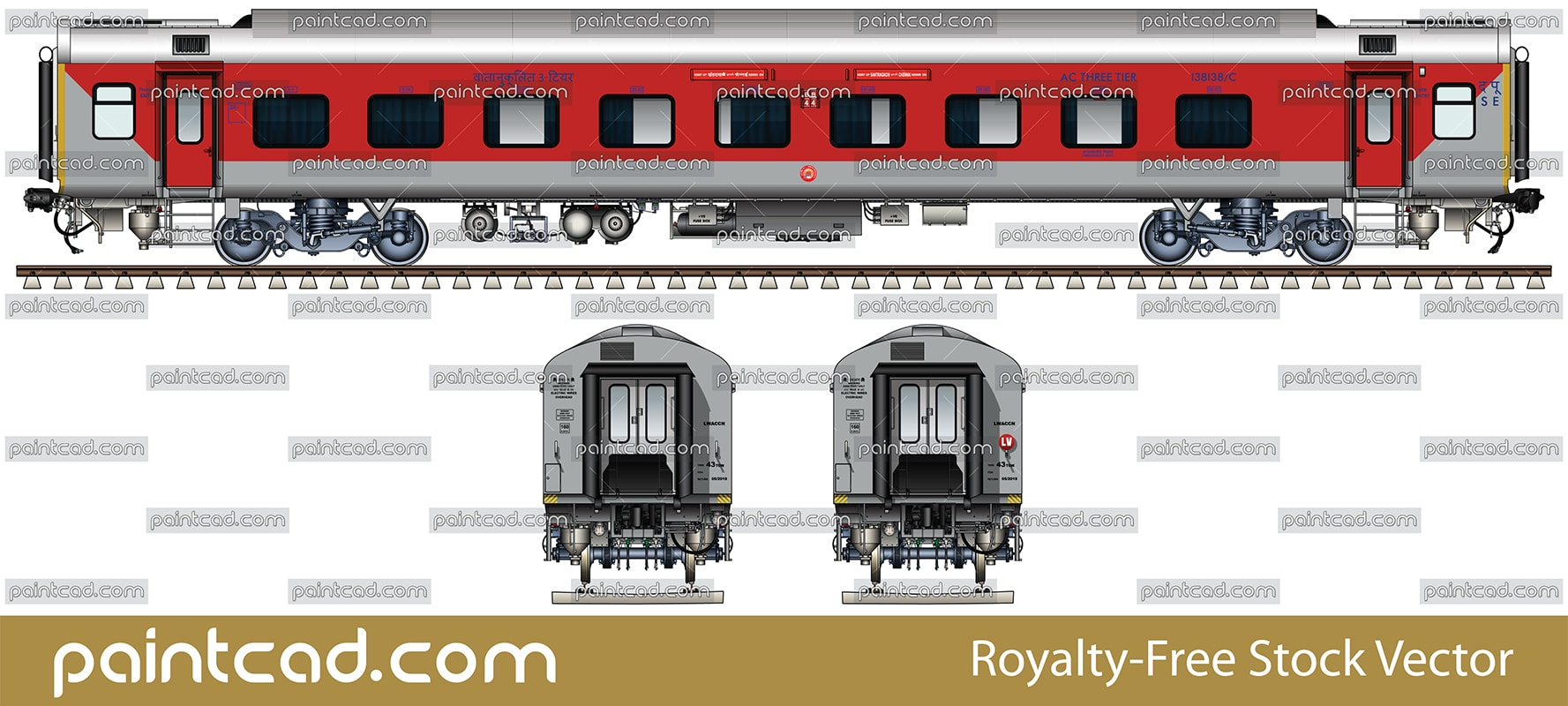 LHB AC three tier car in livery of Santragachi-Chennai express - vector illustration
