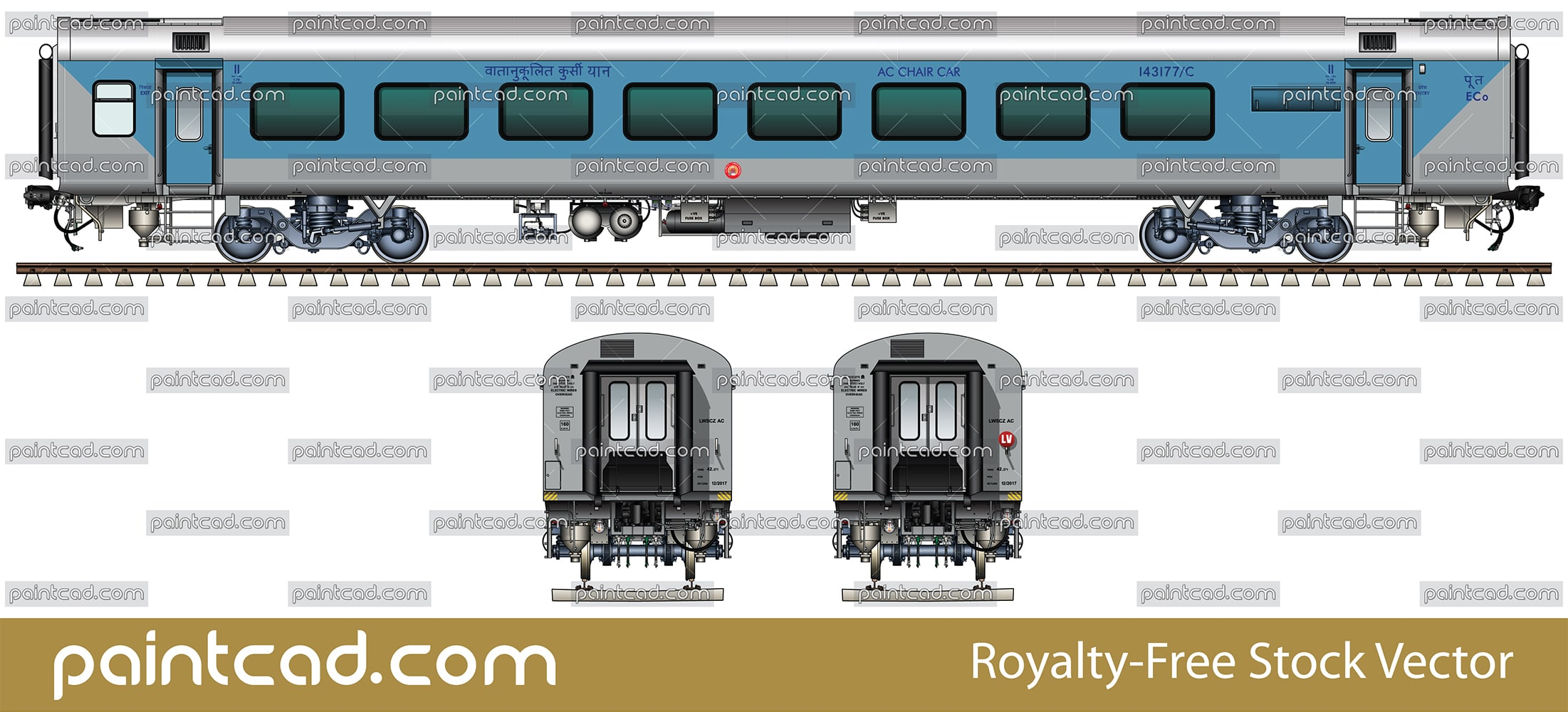 LHB AC CHAIR CAR used in Indian East Coast Railway zone - vector illustration