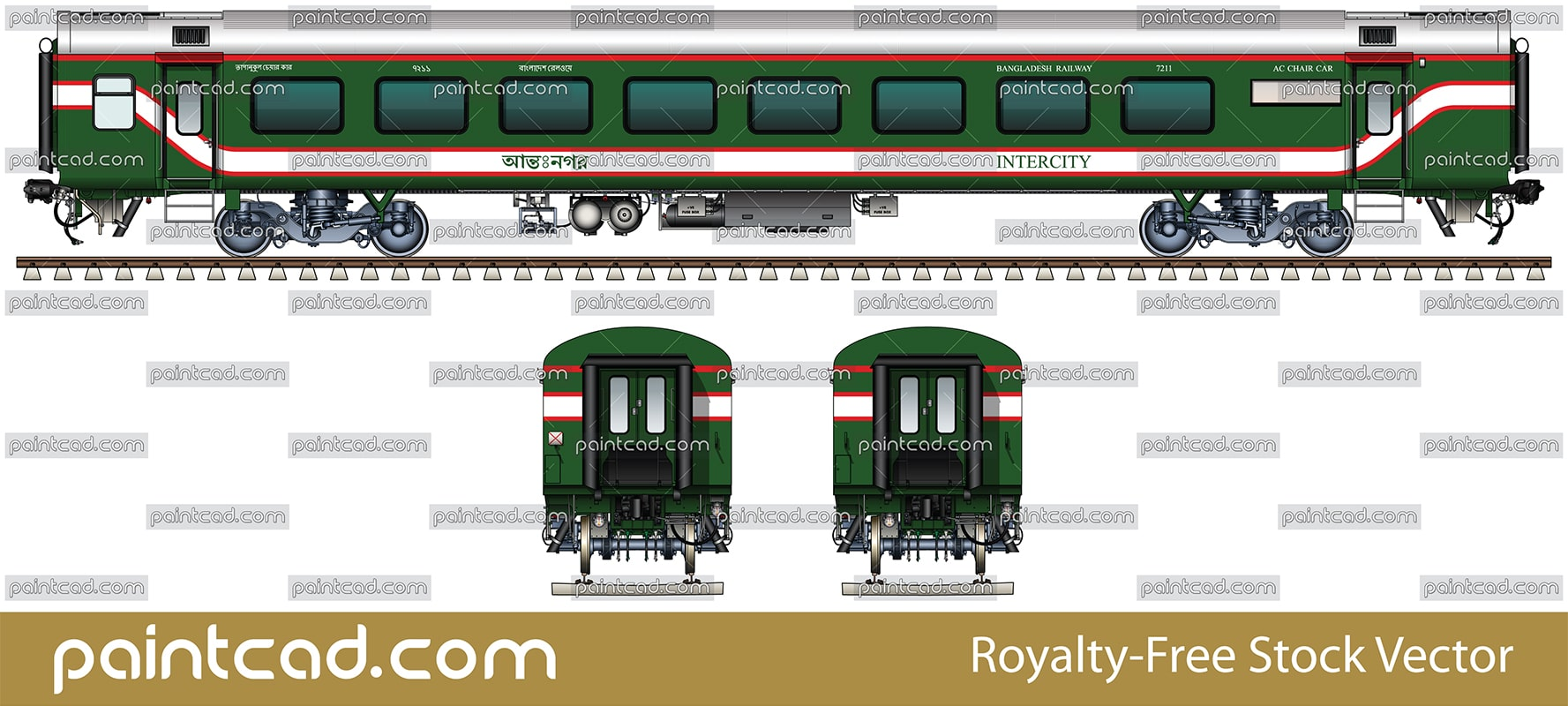 AC CHAIR CAR with two Prayer rooms by Bangladesh Railway - vector illustration