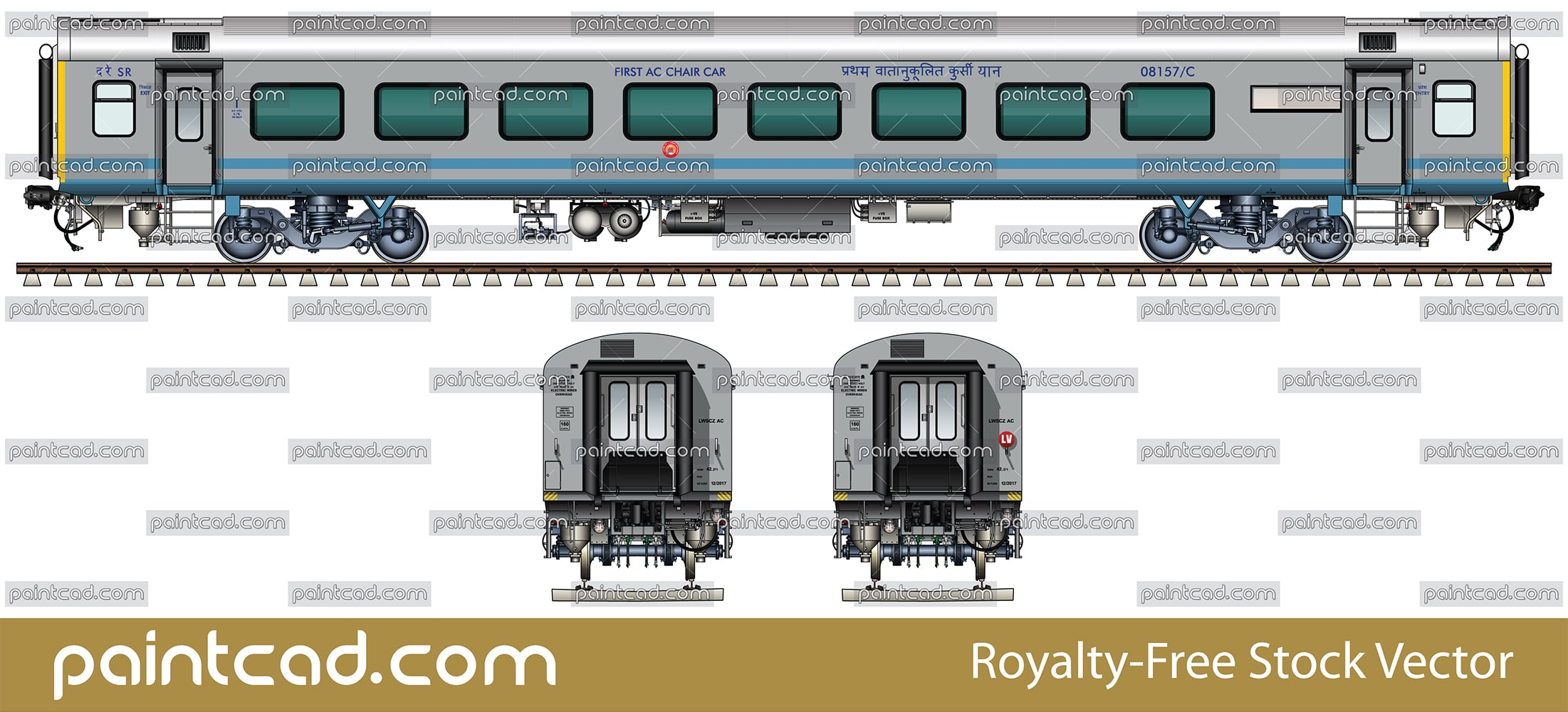 "IMPORTANT: EDITORIAL USE ONLY! Vector illustration with side and front view of First class passenger Air-conditioned chair car ""Linke Hofmann Busch"" in gray livery with blue stripes. This wagon  have a 78 seats. Realistic color drawing with many details - CBC ""H"" type tight lock coupler, FIAT bogies, intermediate tank bio toilets, brake equipment, battery box, electrical cubical, ventilation, destination board, technical inscriptions and others. Isolated objects over white background."