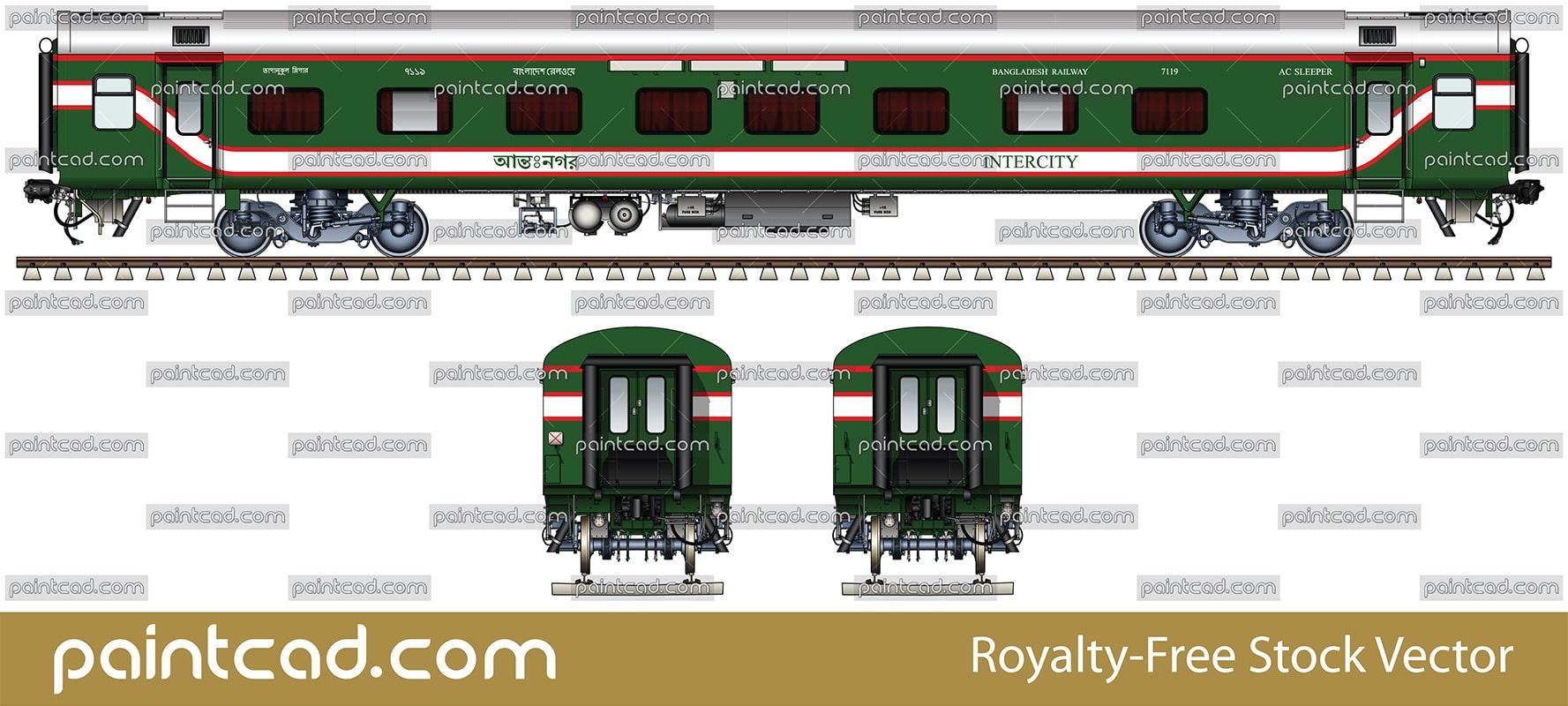 Modern Indian Lhb Ac Sleeper Car Used By Bangladesh Railway Fuse Box Vector Illustration