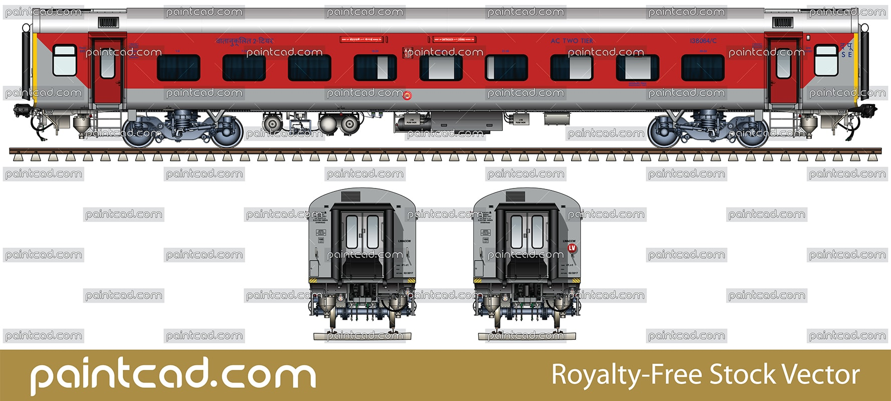 AC 2 TIER LHB coach used by Santragachi-Chennai Express - vector illustration
