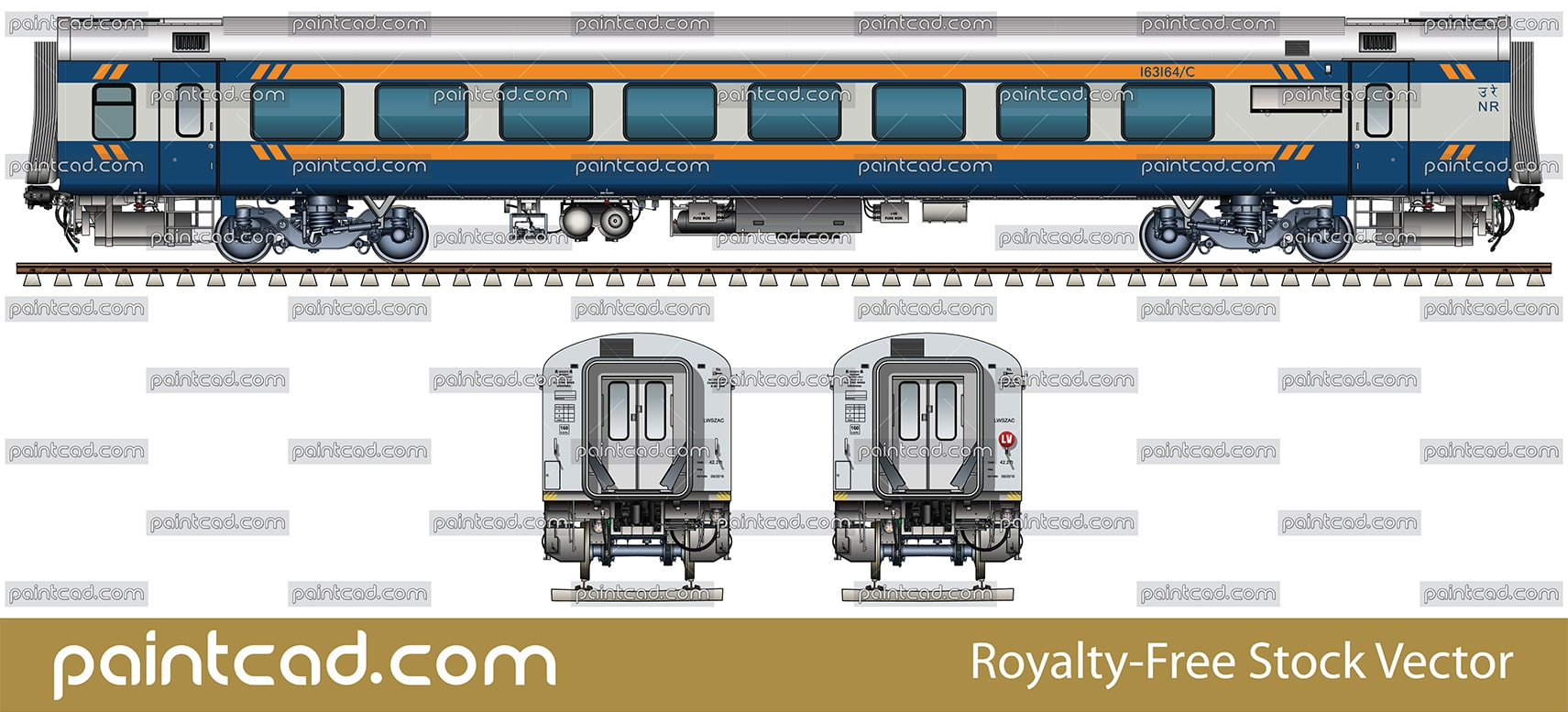 "IMPORTANT: EDITORIAL USE ONLY! Vector illustration with side and front view of passenger Indian  first class Air-conditioned chair car ""Linke Hofmann Busch"" in dark blue-silver livery with yellow stripes. 