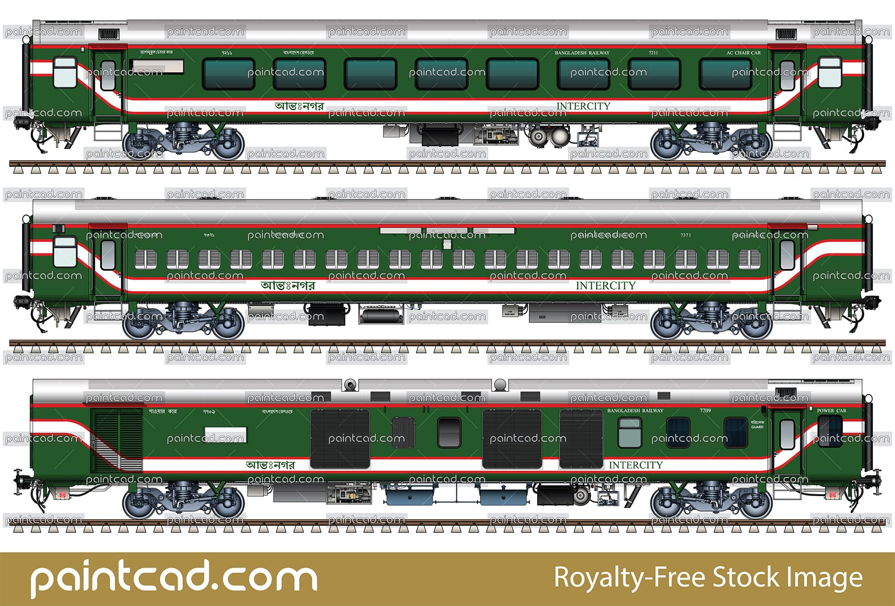 Indian Alstom LHB coaches in livery of Bangladesh Railway - vector illustration