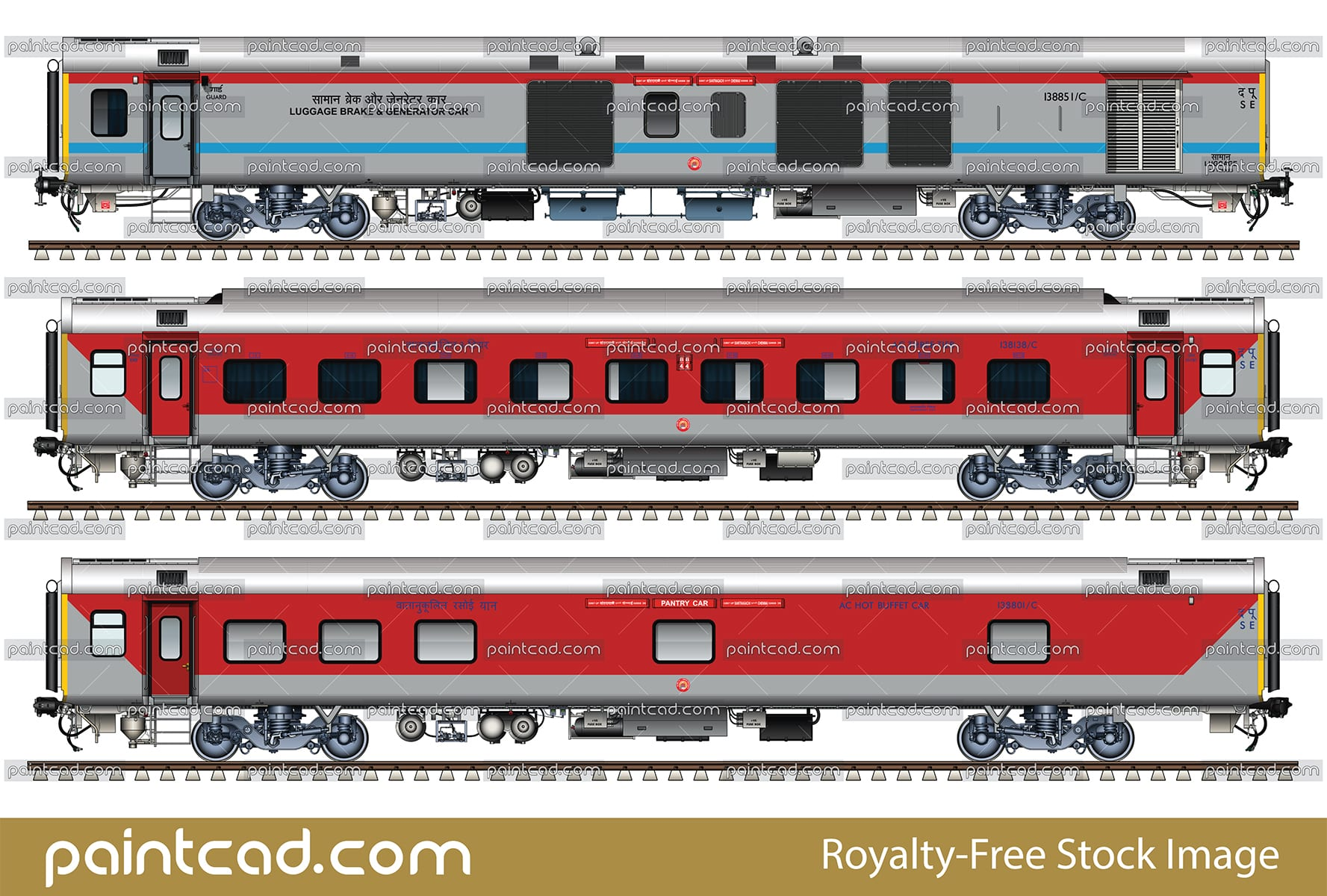 LHB rake of train 22807 Santragachi-Chennai AC express - set 1 - vector illustration