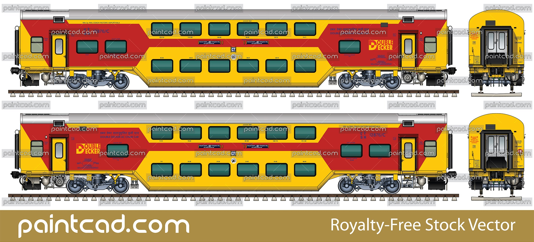 LHB AC Double Decker coach by Chennai - Bangalore Express - vector illustration