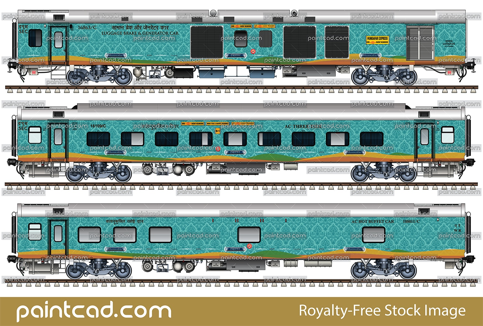 Indian LHB passenger coaches in liveries of Humsafar express - vector illustration
