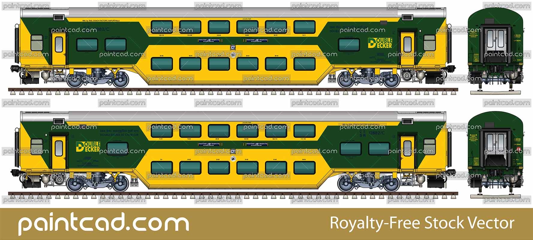 Indian Double Decker AC Chair Car in  yellow-green livery - vector illustration