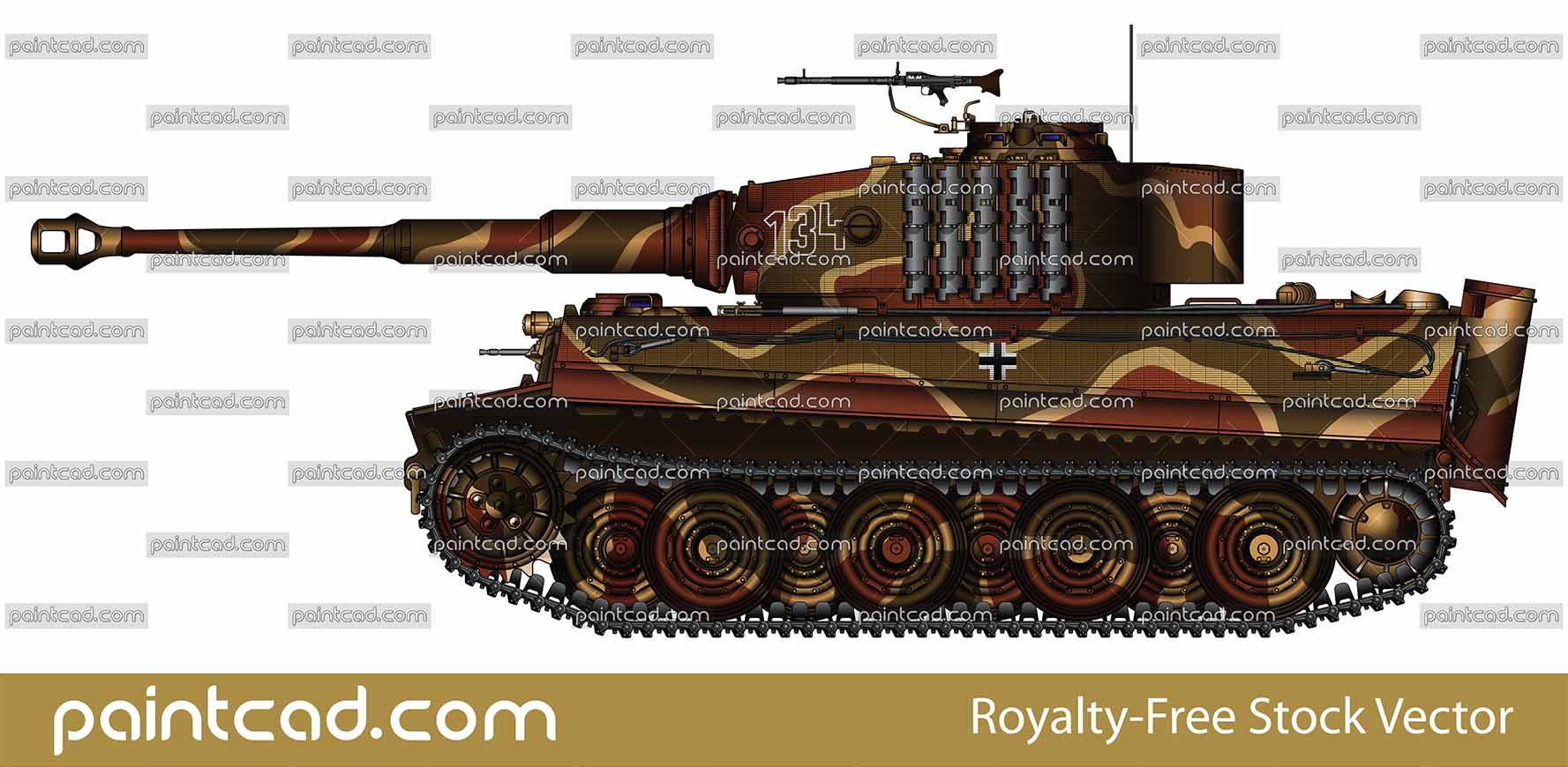 Willi Fey tank Panzerkampfwagen VI Tiger Ausf E Sd Kfz 181 - vector illustration