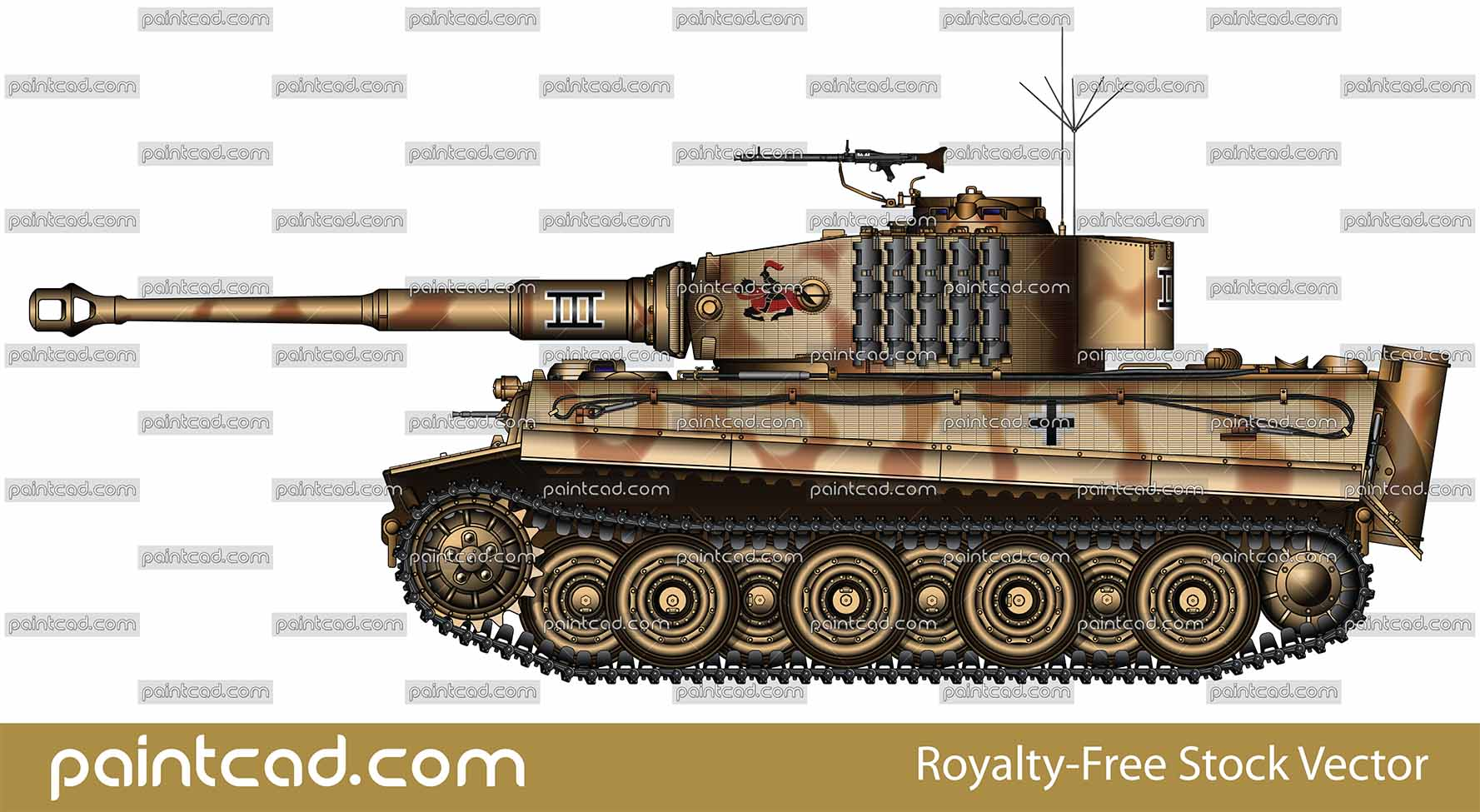 Vector illustration with side view of heavy German tank  PzKpfw VI Tiger I Ausf. E from WW2 used in Battle of Kursk, USSR 1944. On turret is painted a Knight on horse with pike.That is insignia of 505th Heavy Panzer Battalion. Armored fighting vehicle with zimmerit cover used against magnetically attached anti-tank mines. Realistic color vector drawing. Isolated object over white background.
