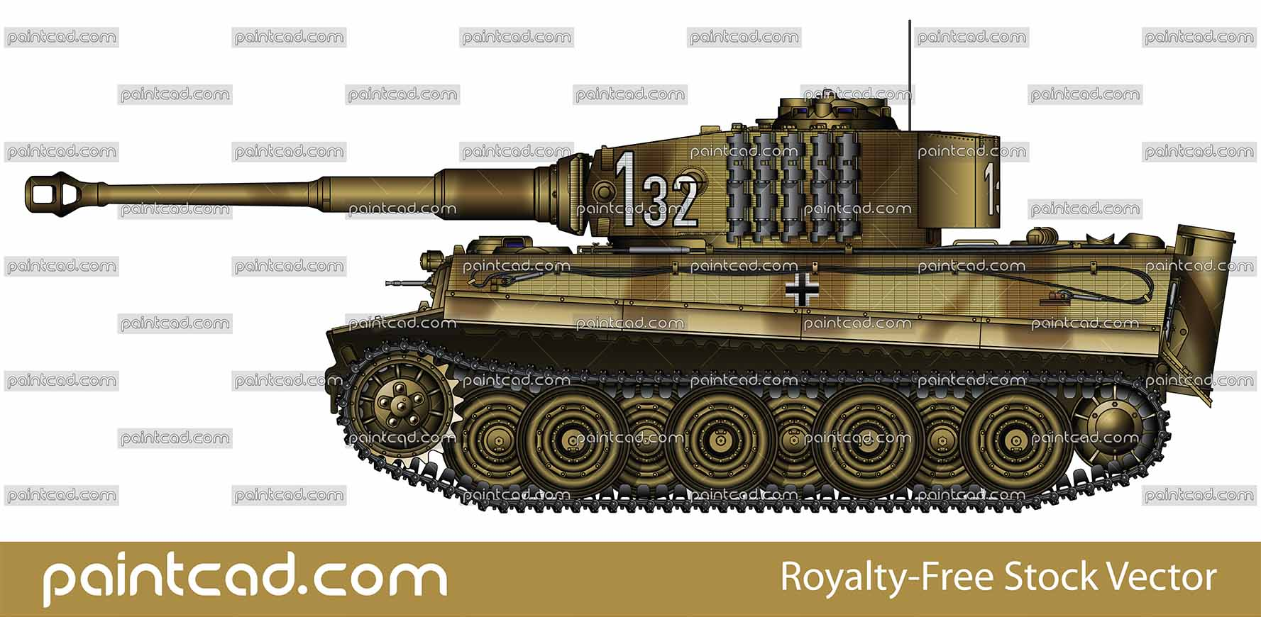 Nazi tank PzKpfw VI Sd Kfz 181 Ausf E Tiger I from 1944 - vector illustration