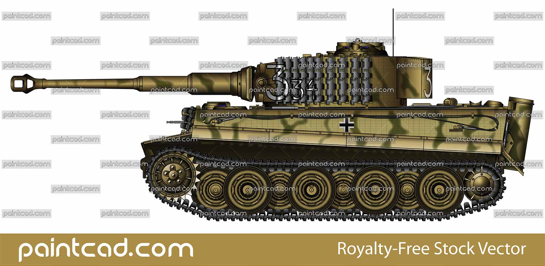 "Vector illustration with side view of heavy German tank Panzerkampfwagen  VI Tiger I late production from 507-th Heavy Panzer Battalion, used in World War II, fighiting in Poland around Zambrow, late summer 1944. On turret is painted a tactical number ""334"" with black lined white nummerals. First large ""3"" means Kompanie number, followed by smaller interior digits ""34"" for the Zug and individual tank number. This family panzers has a additional link tracks for armour on front and side of machine. Armored fighting vehicle with zimmerit cover used against magnetically attached anti-tank mines. Realistic color drawing with many details. Isolated object over white background."