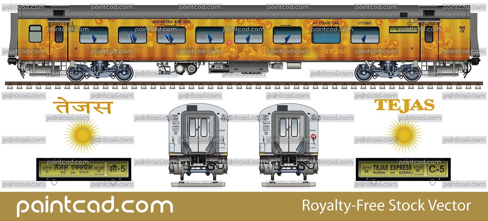 AC CHAIR CAR with 78 seats by Mumbai - Karmali Tejas Express - vector illustration
