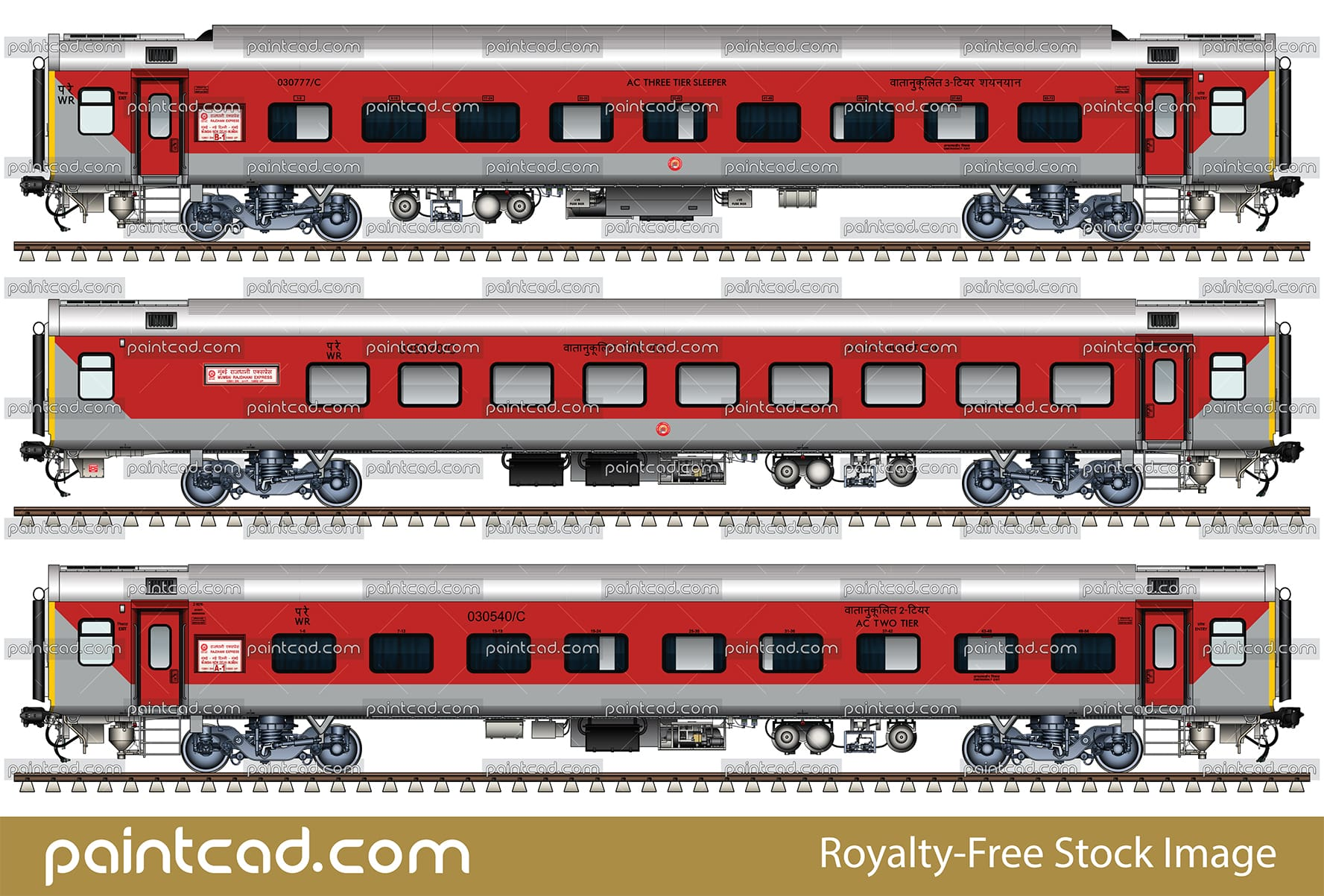 IMPORTANT: EDITORIAL USE ONLY!  Vector image in high-resolution 300 DPI with side view of Indian passenger cars Linke Hofmann Busch - AC (Air-Conditioned) 3-tier sleeper and general seat car second class. These cars are used in Western and Eastern Railway zone of Indian Railways. High-quality color CAD drawing. Isolated objects over white background.