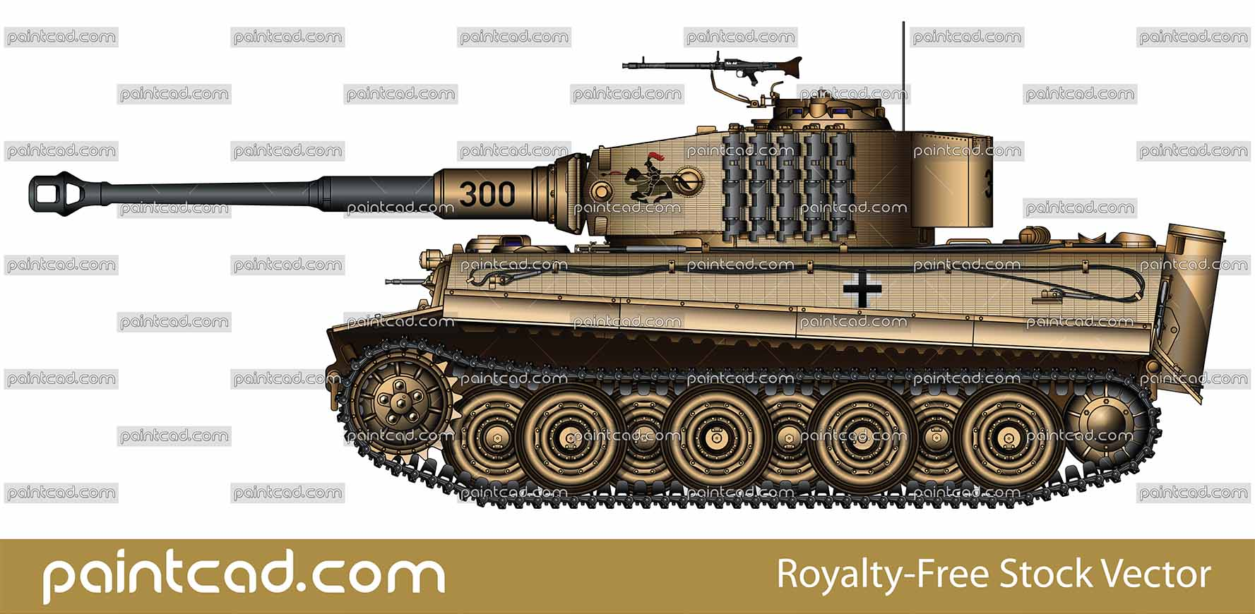German tank Tiger I late production from Eastern front 1944 - vector illustration