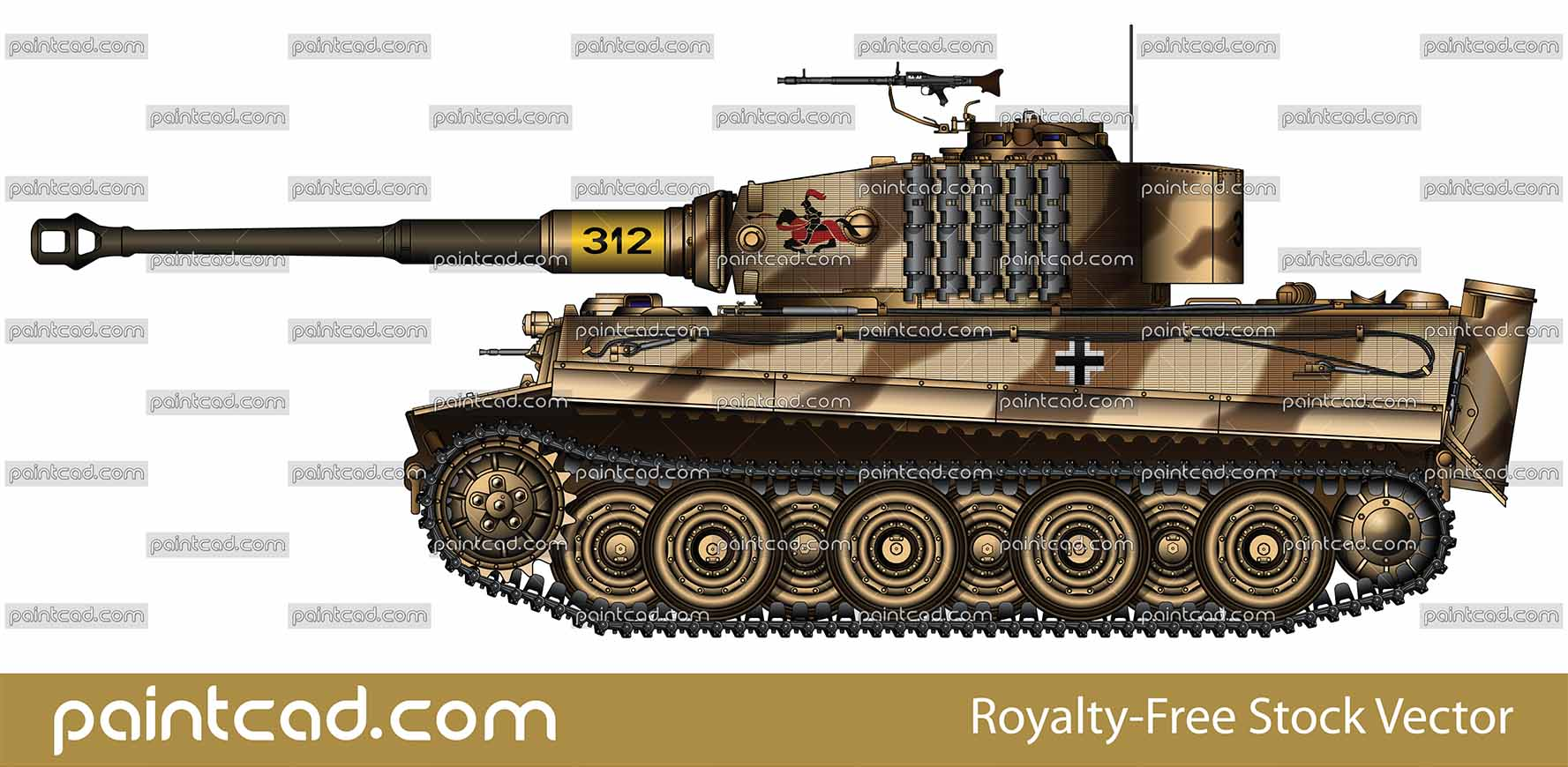"Vector illustration with side view of heavy German tank PzKpfw VI Tiger I Ausf. E used by Nazi in USSR trough 1944. On turret is mounted machine gun MG 34 and painted a ""red"" knight on horse with pike- insignia of the 505th heavy panzer battalion. The tactical number ""312"" of the tank is painted on the cannon over yellow background. Armored fighting vehicle with zimmerit cover used against magnetically attached anti-tank mines. High quality color drawing. Isolated object over white background."