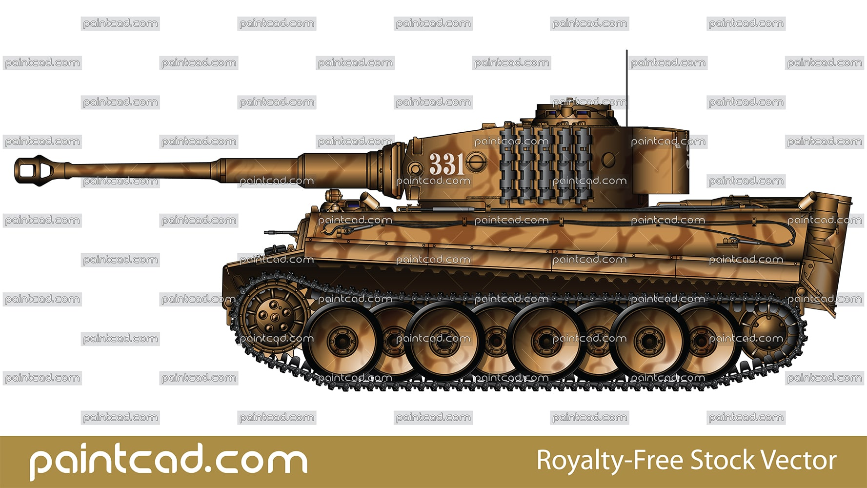 Tank Tiger I number 331 early series mid-production variant - vector illustration