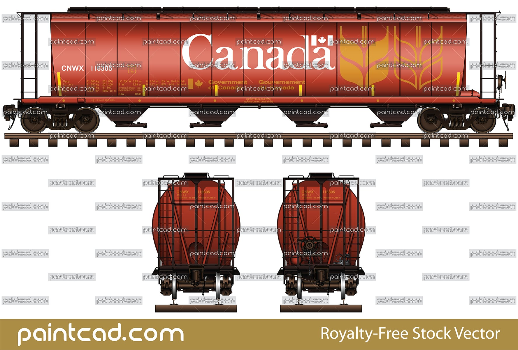 Covered hopper car with capacity 5800 cf and big logo Canada - vector illustration