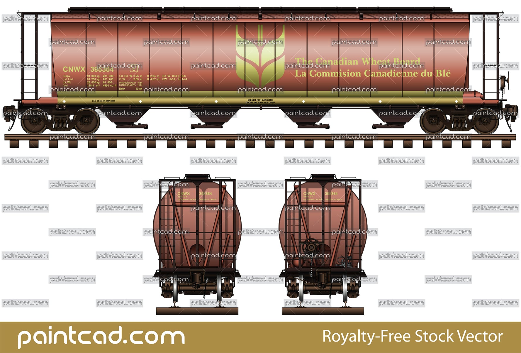 "IMPORTANT: EDITORIAL USE ONLY! Vector illustration of CNWX (Canadian National Railway company) railroad car hopper type with a capacity of 4550 cubic feet for carriage of grain cargo on long distances. This model has a four container compartments, with a narrow opening at bottom, for unloading. The shape of interior bay allows unloading by means of gravity. Side and front views with all technical parameters, inscriptions (Commission Canadienne du blé in French and ""Wheat logo""), instructions for safe handling and hand brake. High-quality color diagram. Isolated objects over white background."