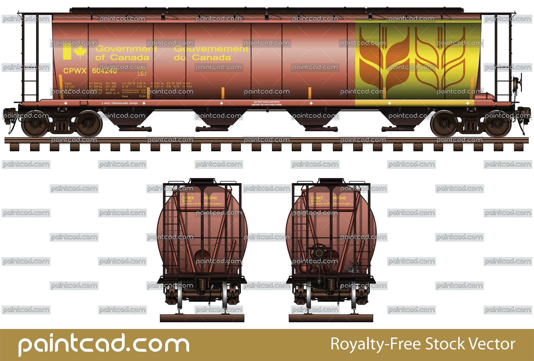 Covered hopper car in livery of Canadian Pacific Railway - vector illustration