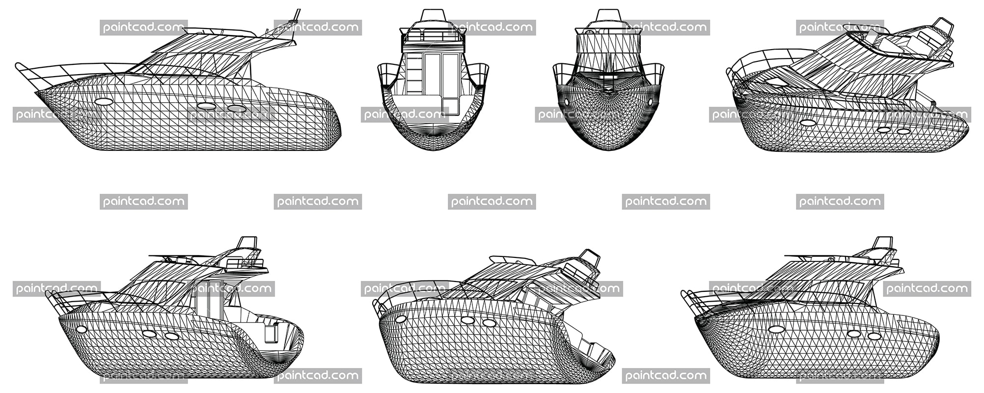 Wireframe design of modern high speed yacht - vector illustration