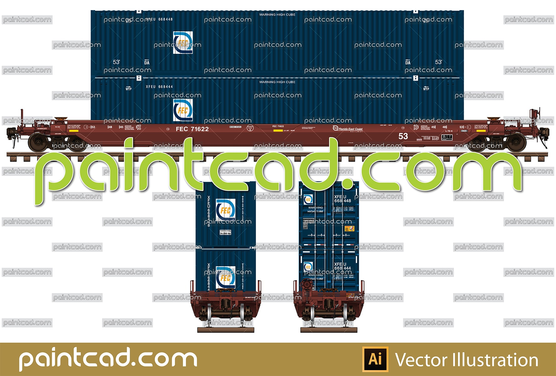 Two railroad hoppers in livery of Government of Saskatchewan - vector illustration