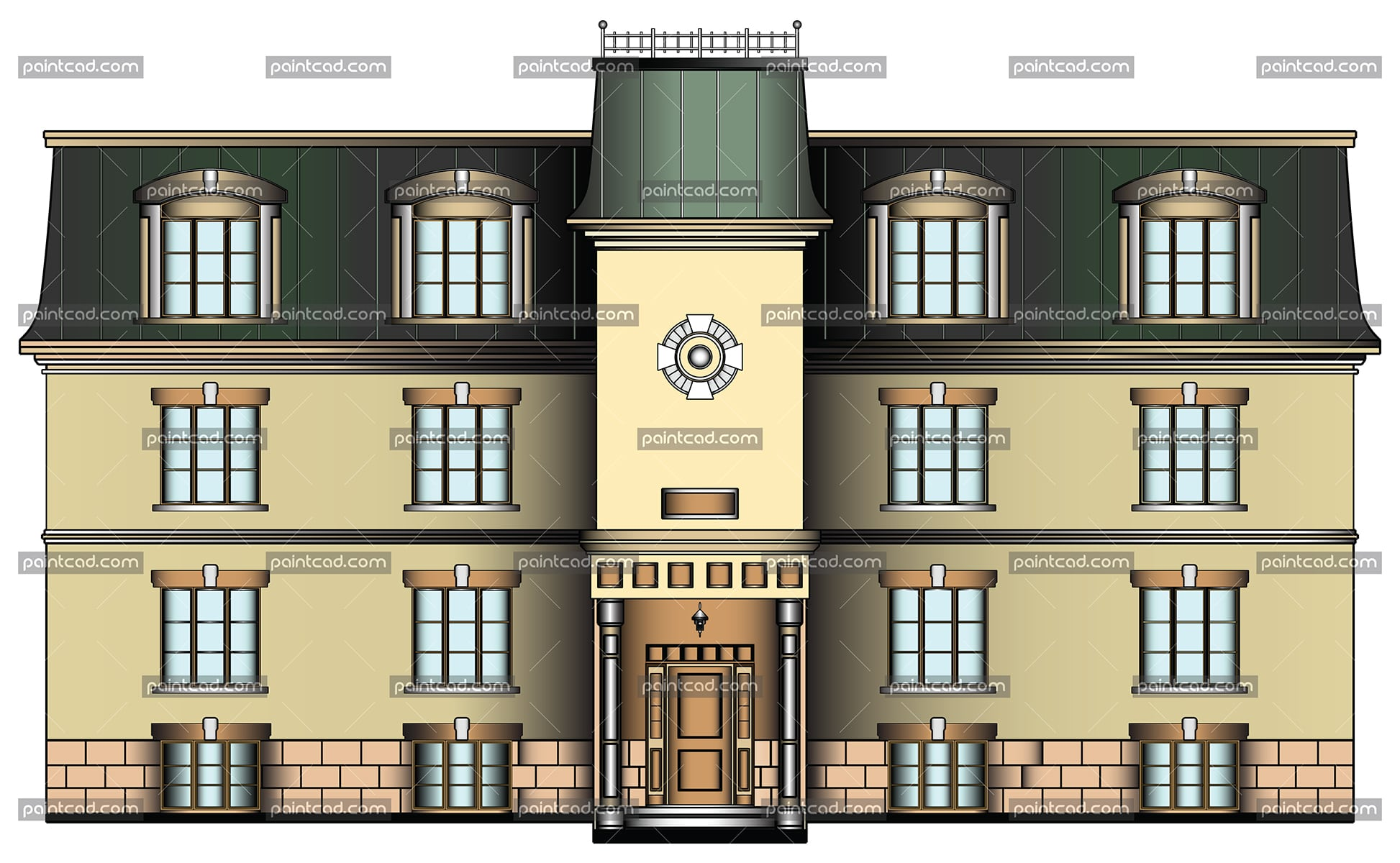 Facade of luxury yellow house with green metal roof - vector illustration