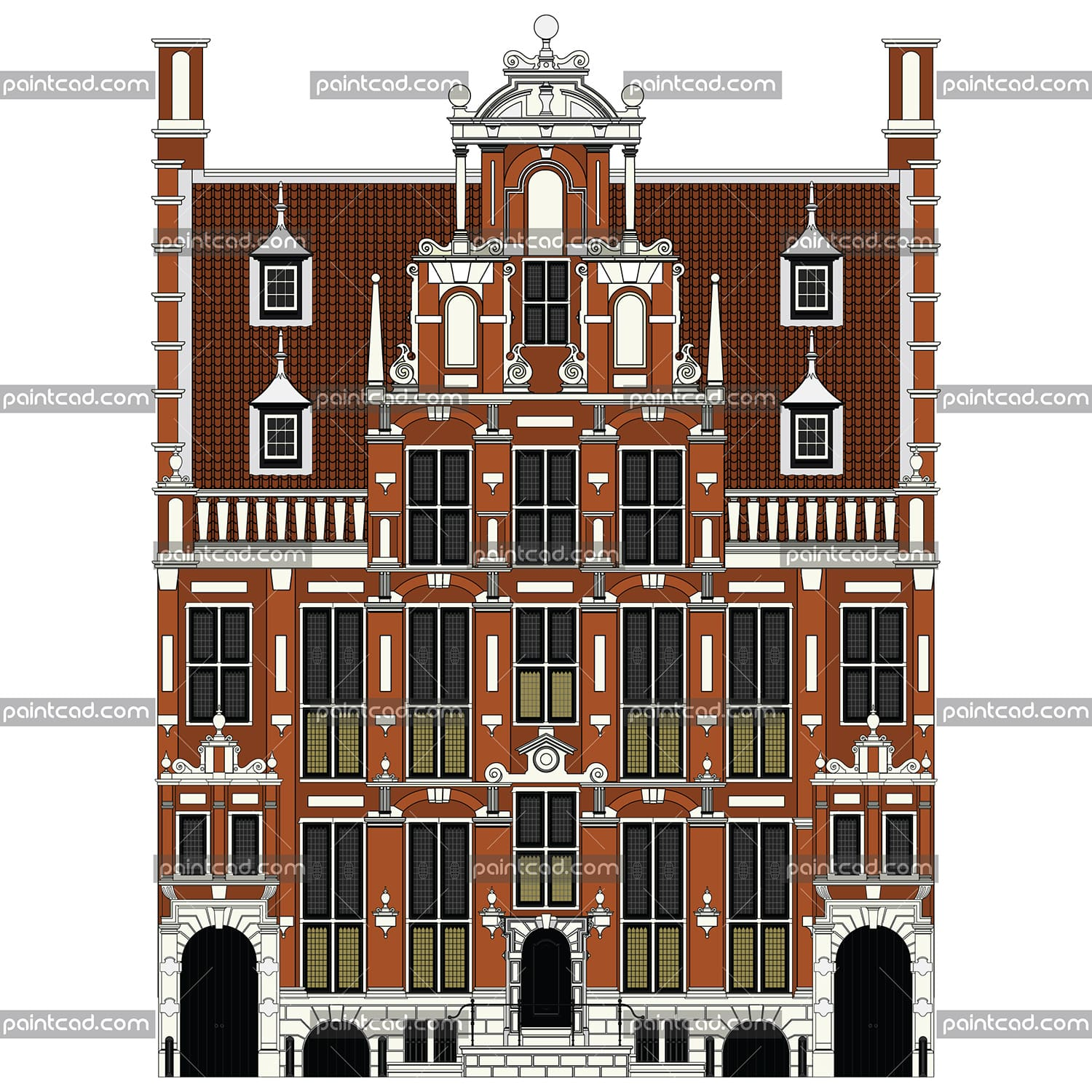 Vector illustration with high-detailing and painted AUTOCAD drafting of old canal house (huis) from Dutch capital Amsterdam. Isolated object over white background.
