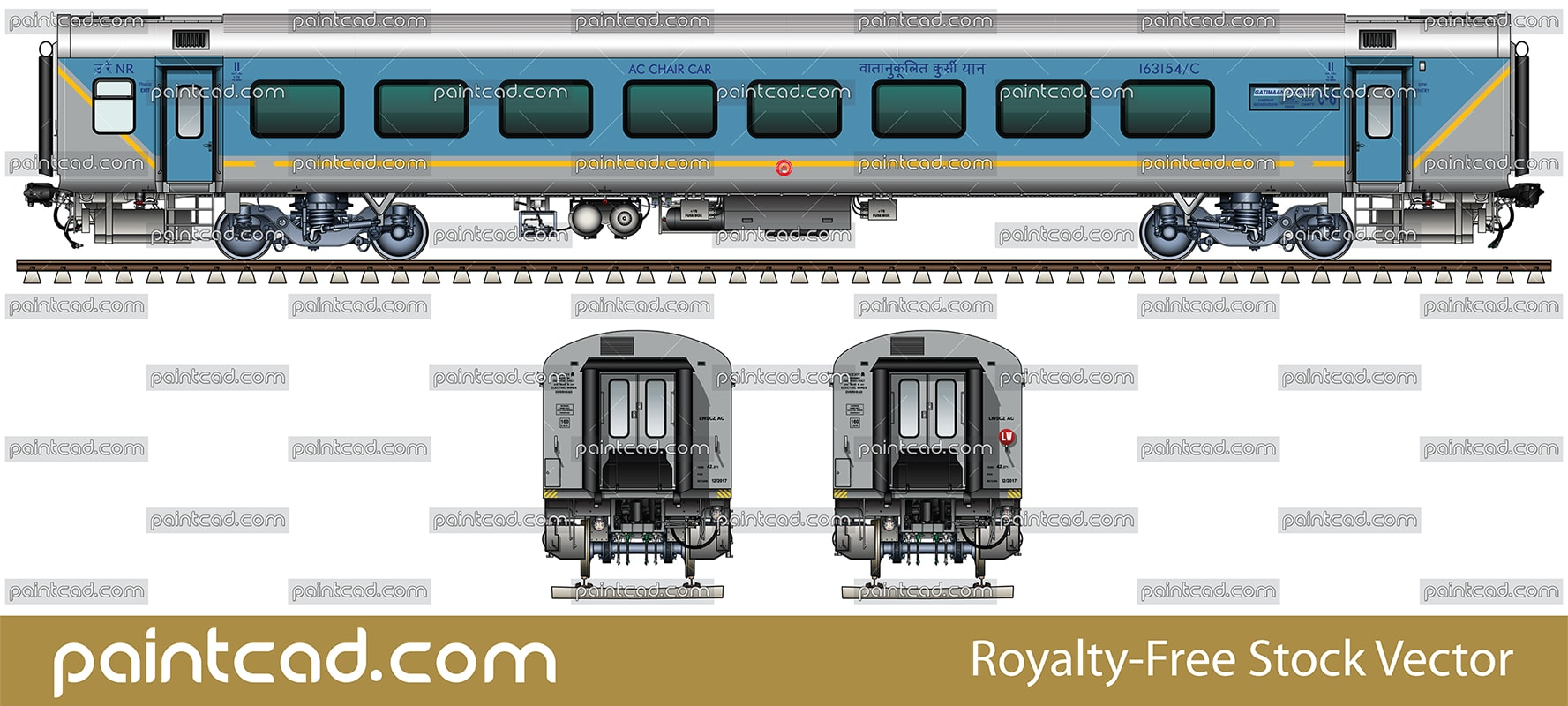 Passenger LHB AC chair car in livery of Gatimaan Express - vector illustration