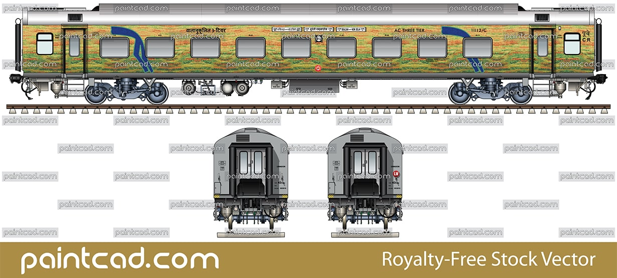 AC THREE TIER LHB car by Duronto Express Sealdah-New Delhi - vector illustration