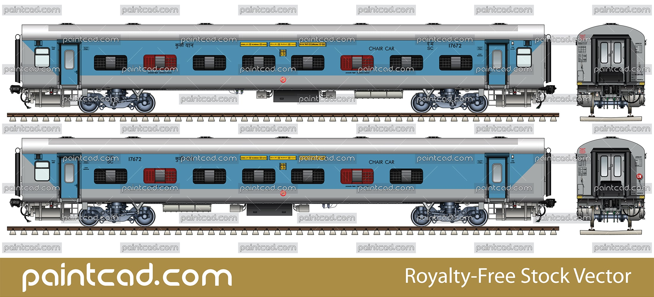 LHB car by Kurnool City-Guntur-Secunderabad Intercity express - vector illustration