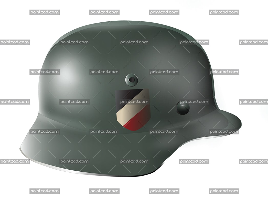 German helmet with Wehrmacht decal imperial tricolor flag - vector illustration