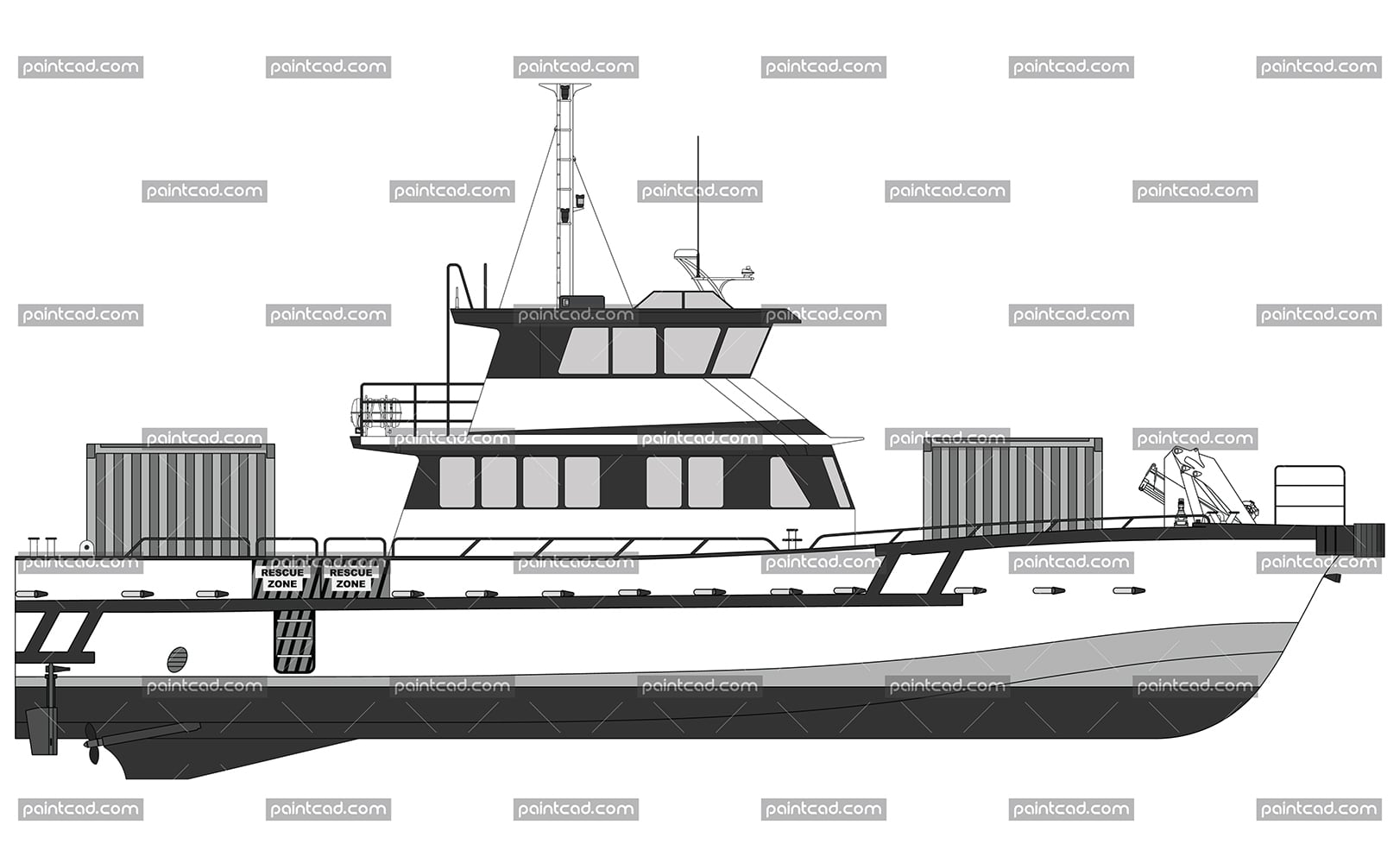 Diagram of wind farm catamaran 22 m with ISO containers - vector illustration