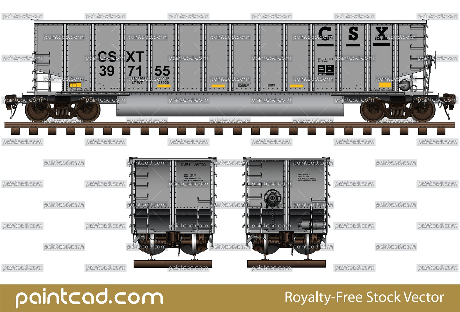 Aluminum coalporter in silver livery of CSX Transportation - vector illustration
