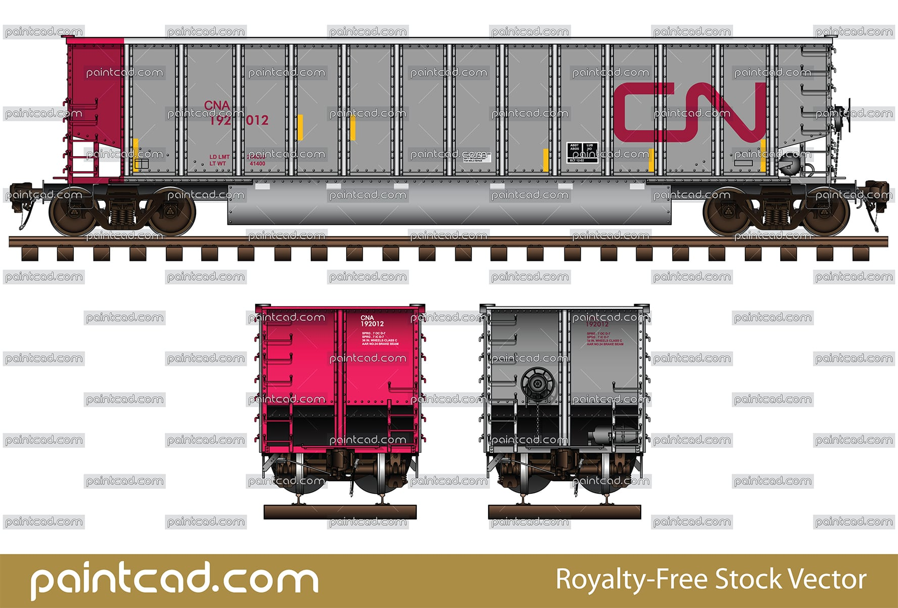 Coalporter car in livery of Canadian National Railway - CN - vector illustration