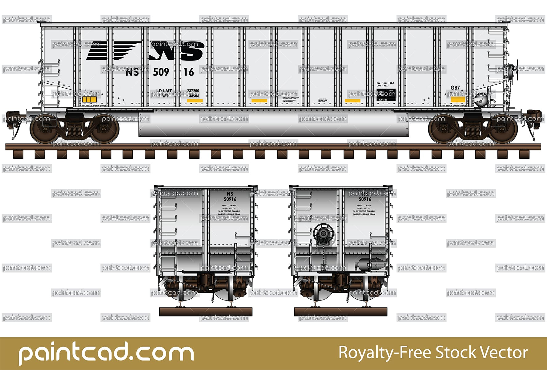 Open-top coal hopper in white livery of Norfolk Southern NS - vector illustration