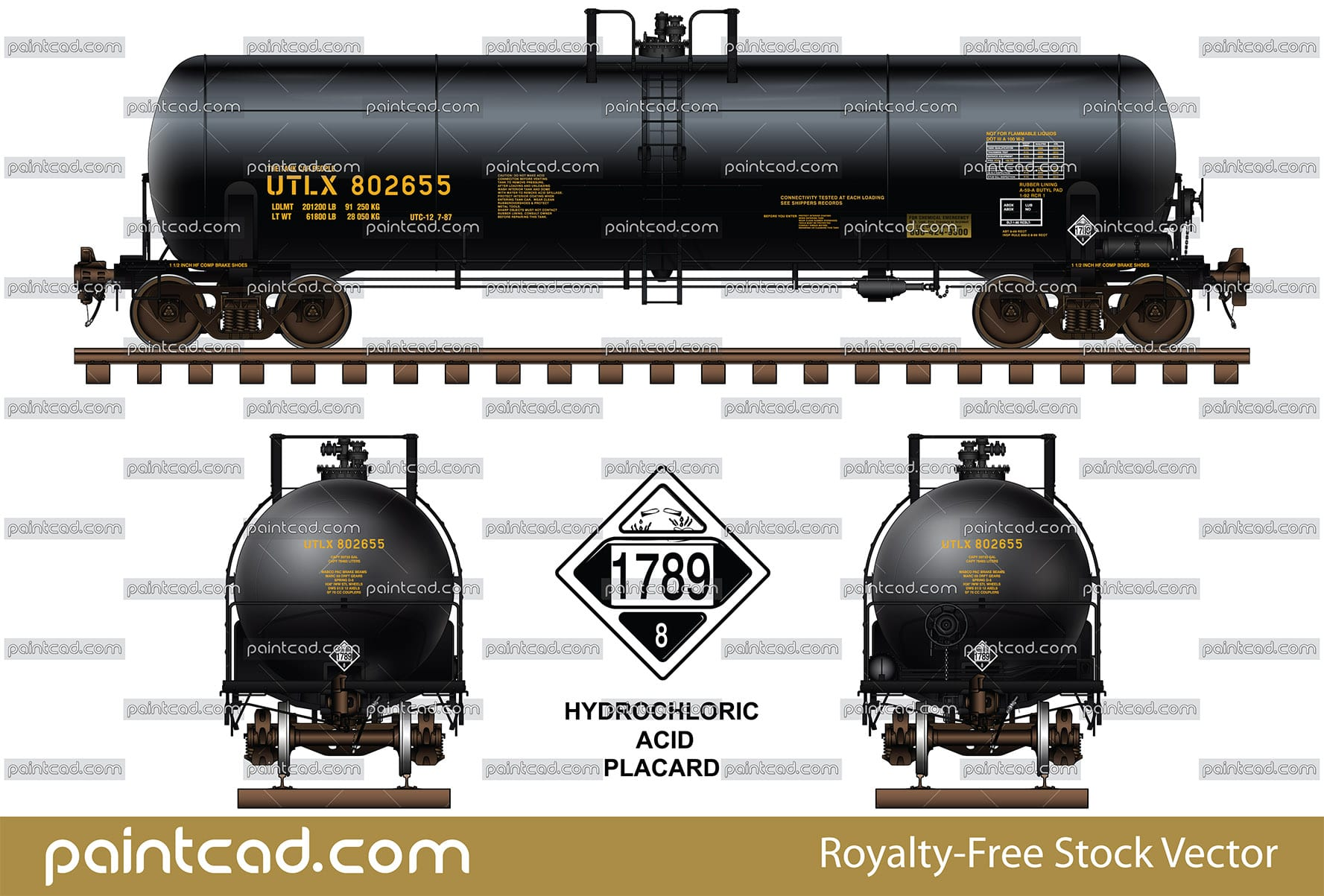 Black tank car DOT-111 with placard 1789 - Class 8 Corrosive - vector illustration