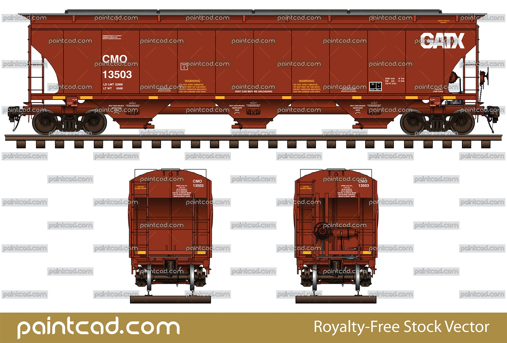 3-Bay covered hopper car in red livery of CMO / GATX Railway - vector illustration