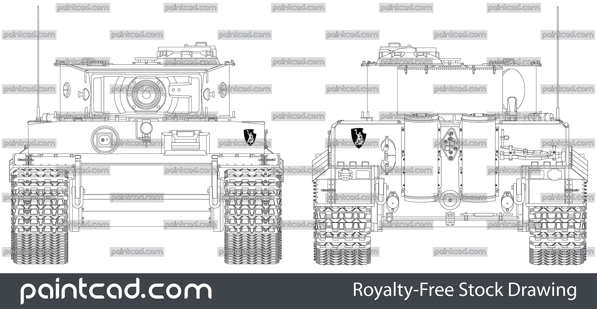 Front and rear view of German panzer tank Tiger I from WWII - vector illustration