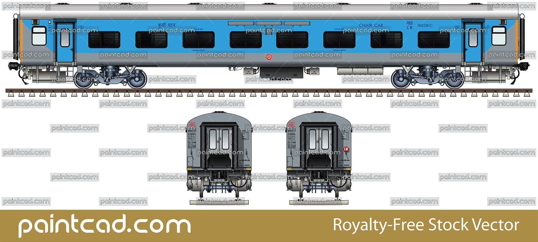 New LHB chair car in blue-gray livery by Indian Railways - vector illustration