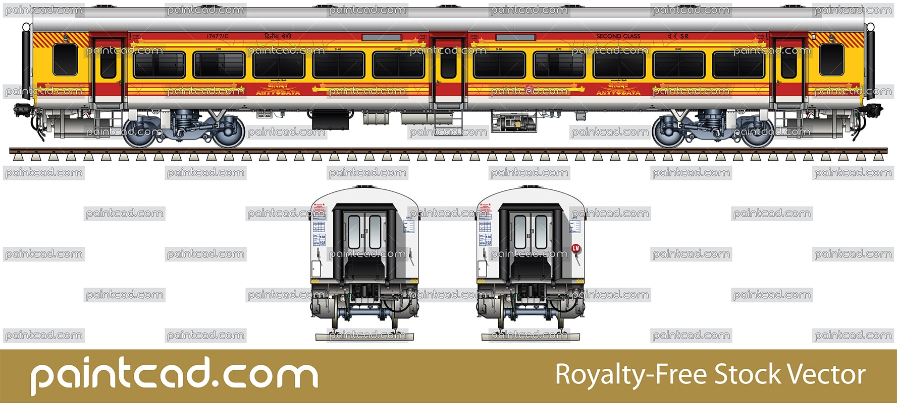 New LHB car with blacked windows used by Antyodaya express - vector illustration